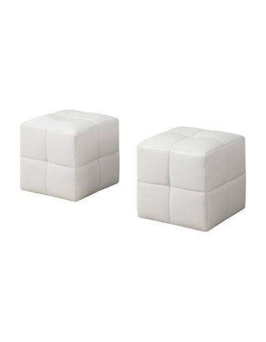 Monarch Two-Piece Leather-Look Ottoman Set-WHITE-One Size