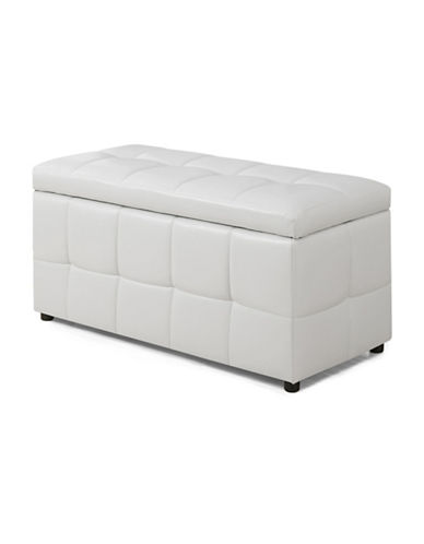 Monarch Leather-Look Hinged Storage Ottoman-WHITE-One Size