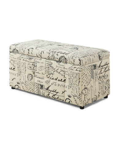 Monarch Leather-Look Hinged Storage Ottoman-BEIGE-One Size