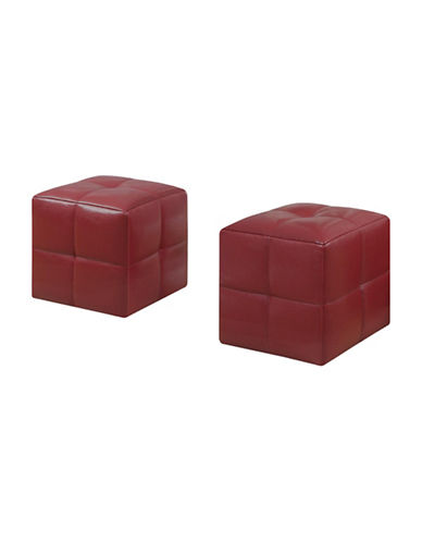 Monarch Quilted Ottoman Pair-RED-One Size
