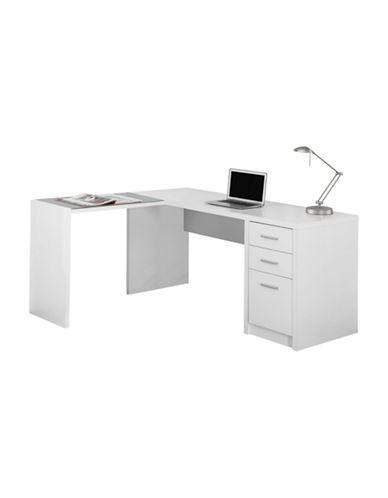 Monarch Three-Draw Computer Desk-WHITE-One Size