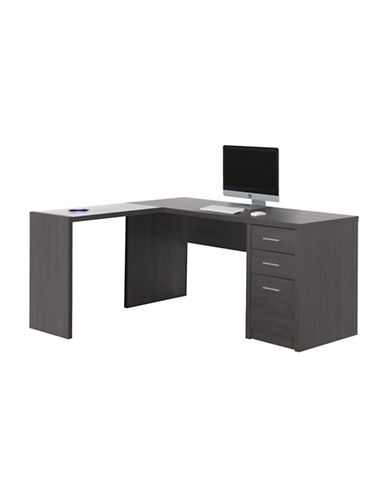 Monarch Three-Draw Computer Desk-GREY-One Size