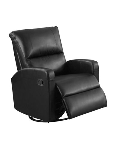 Monarch Swivel and Rocks Bonded Leather Recliner-BLACK-One Size