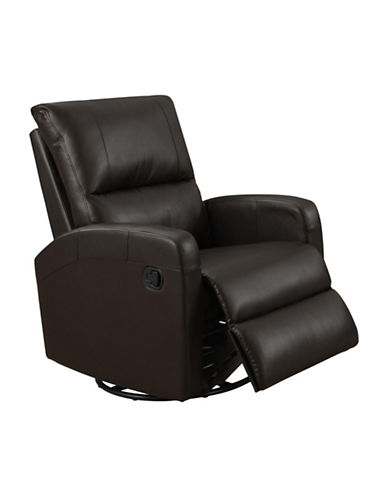 Monarch Swivel and Rocks Bonded Leather Recliner-DARK BROWN-One Size