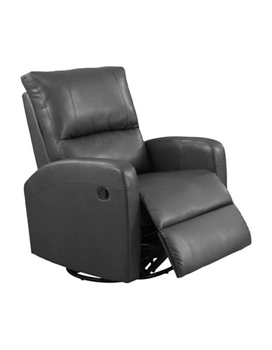 Monarch Swivel and Rocks Bonded Leather Recliner-CHARCOAL-One Size