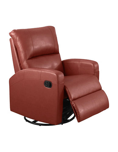 Monarch Swivel and Rocks Bonded Leather Recliner-RED-One Size