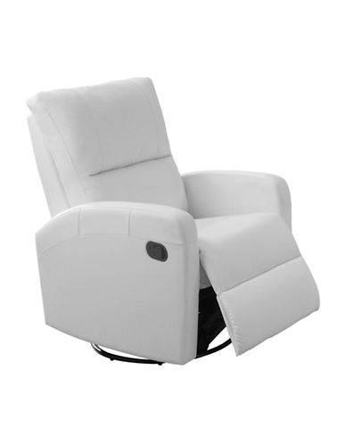 Monarch Swivel and Rocks Bonded Leather Recliner-WHITE-One Size