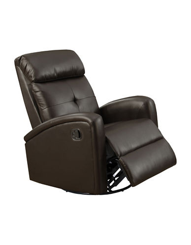 Monarch Bonded Leather Recliner-DARK BROWN-One Size