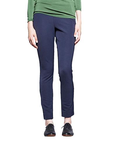 Pink Tartan Tapered Side Zip Pants-NAVY-4