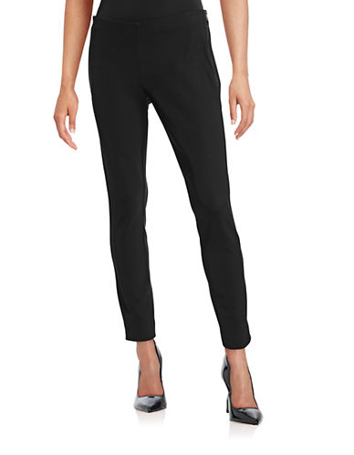 Pink Tartan Tech Panel Side-Zip Pants-BLACK-2