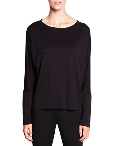 Pink Tartan Long Dolman-Sleeve Jersey Tee-BLACK-X-Large