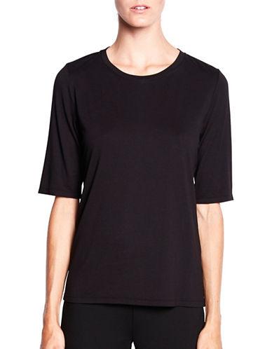 Pink Tartan Elbow-Sleeve Jersey Tee-BLACK-X-Small 87785057_BLACK_X-Small