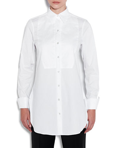 Pink Tartan Pique Tuxedo Tunic Shirt-WHITE-X-Small