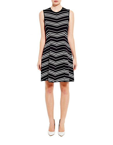 Pink Tartan Chevron Fit-and-Flare Dress-BLACK/WHITE-XX-Small