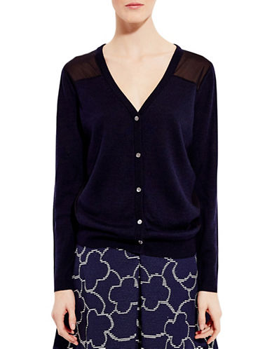 Pink Tartan Sheer-Back Cardigan-NAVY/BLACK-X-Small