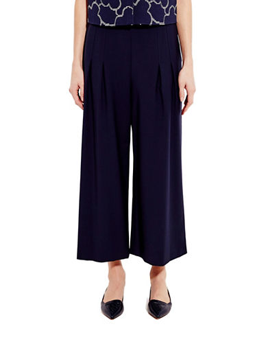 Pink Tartan Tailored Pleated Pants-NAVY-4