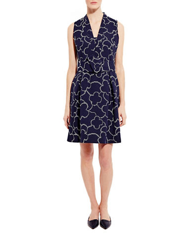 Pink Tartan Floral Cocktail Dress-NAVY-0