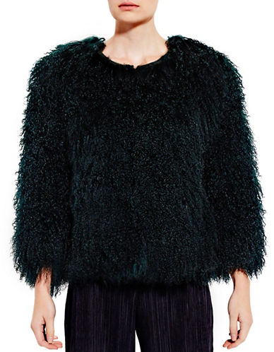 Pink Tartan Mongolian Fur Coat-GREEN-X-Small/Small