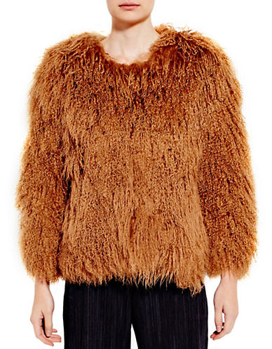 Pink Tartan Mongolian Fur Coat-CAMEL-Medium/Large