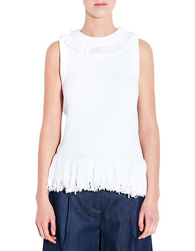 Pink Tartan Fringed Shell Sweater-WHITE-X-Small