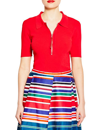 Pink Tartan Half-Sleeve Zip Polo-RED-Small