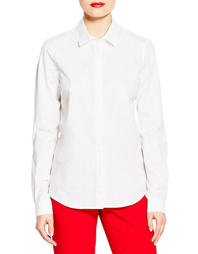 Pink Tartan Grosgrain Trim Fly Front Shirt-WHITE-0