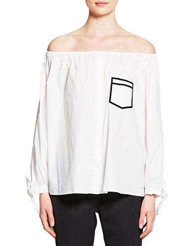 Pink Tartan Trompe L Oeil Off Shoulder Shirt-WHITE-2