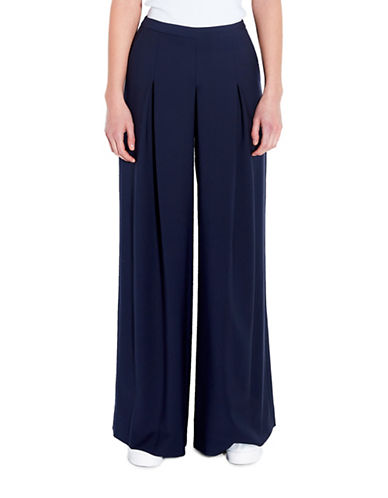 Pink Tartan Pleated Wide Leg Pants-NAVY-00