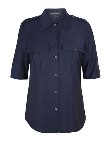 Pink Tartan Military Wool-Blend Shirt-BLUE-8