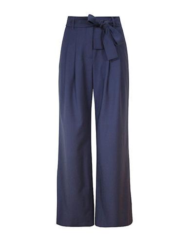 Pink Tartan Self Tie Wide Leg Pants-BLUE-00 plus size,  plus size fashion plus size appare