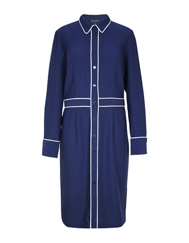 Pink Tartan Piped Shirtdress-BLUE-2