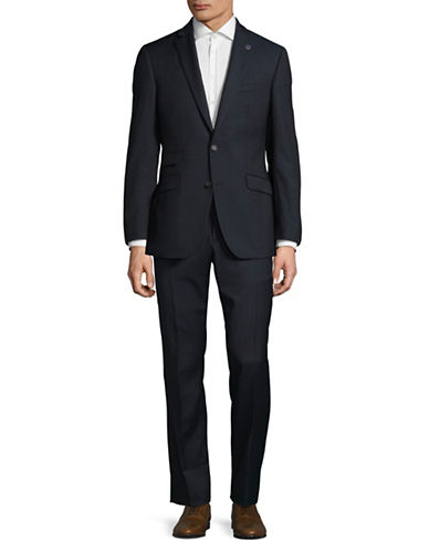 Ted Baker No Ordinary Joe Joey Tonal Grid Wool Suit-BLUE-38 Short