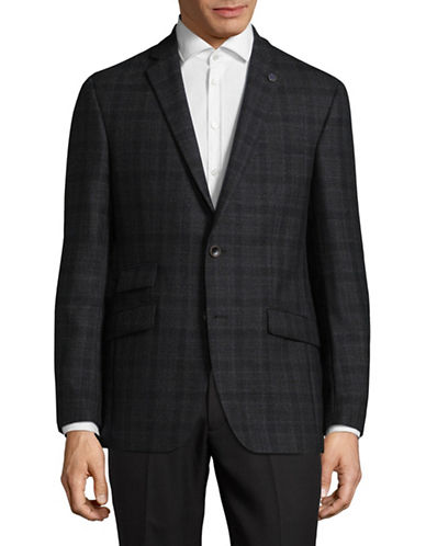 Ted Baker No Ordinary Joe Joey Plaid Wool Suit Jacket-GREY-36 Regular