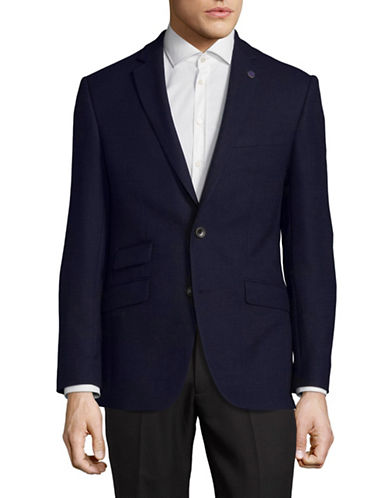 Ted Baker No Ordinary Joe Fully Lined Wool Overcoat-NAVY-36 Regular