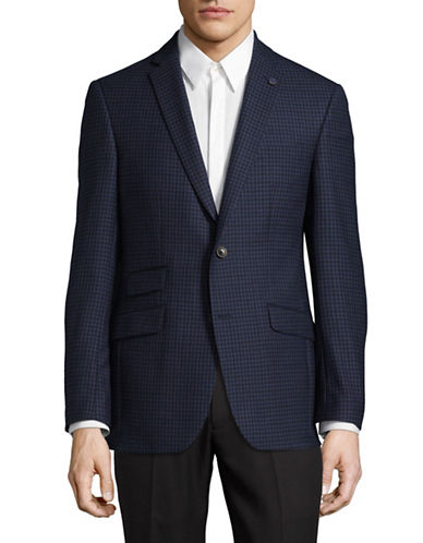Ted Baker No Ordinary Joe Micro Windowpane Wool Suit Jacket-BLUE-42 Short