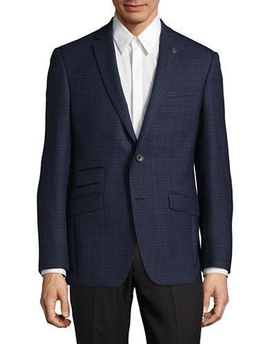 Ted Baker No Ordinary Joe Windowpane Wool Suit Jacket-BLUE-40 Regular