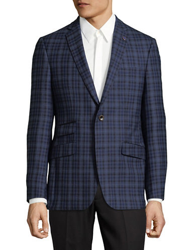 Ted Baker No Ordinary Joe Plaid Wool Suit Jacket-BLUE-40 Tall