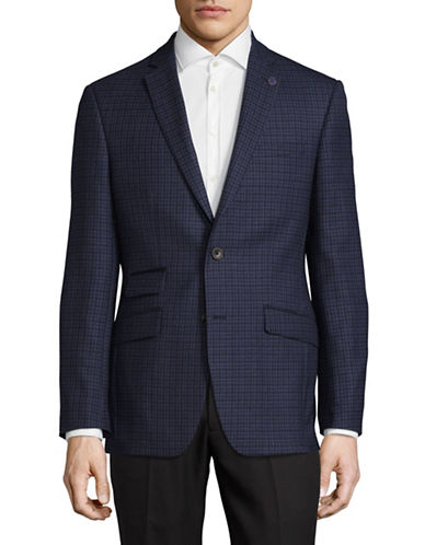 Ted Baker No Ordinary Joe Joey Plaid Wool Sports Jacket-NAVY-42 Regular