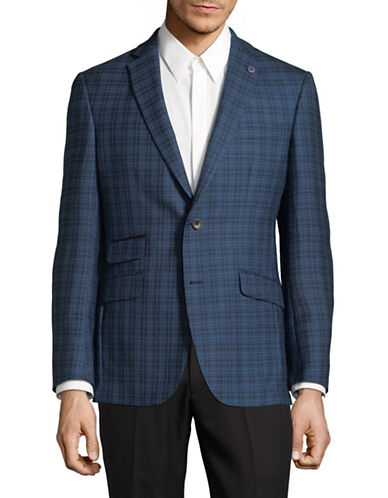 Ted Baker No Ordinary Joe Plaid Wool Jacket-BLUE-40 Regular
