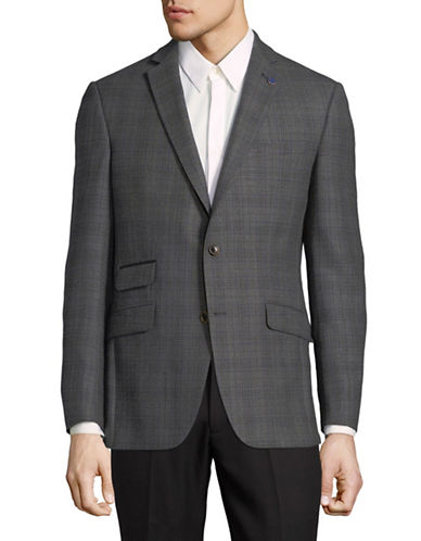 Ted Baker No Ordinary Joe Grid Wool Sportcoat-GREY-40 Short