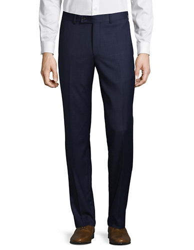 Ted Baker No Ordinary Joe Joey Grid-Check Wool Dress Pants-BLUE-36 Regular