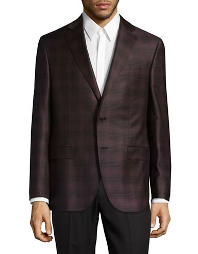 Savile Row Wool Gingham Sports Jacket-BURGUNDY-46 Regular