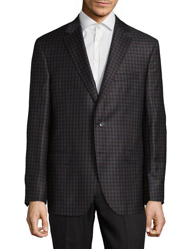 Savile Row Wool Gingham Sports Jacket-GREY-40 Short