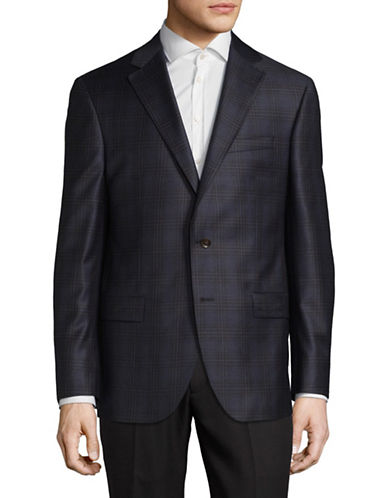 Savile Row Wool Plaid Sports Jacket-BLUE-44 Regular