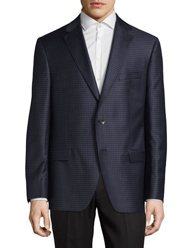 Savile Row Wool Pincheck Sports Jacket-BLUE-42 Tall