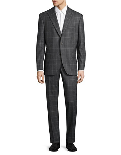 Savile Row Large Graph-Check Super 120s Wool Suit-CHARCOAL-40 Short