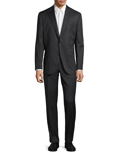 Savile Row Pinstripe Super 110s Wool Suit-GREY-42 Short