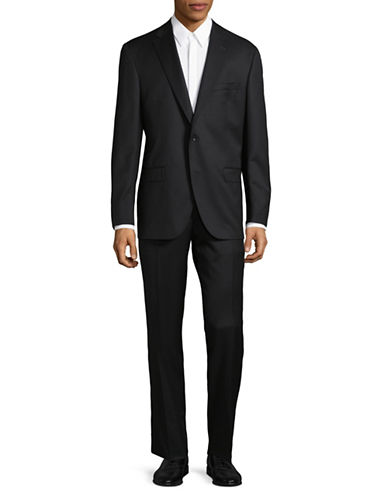Savile Row Tonal-Grid Super 120s Wool Suit-BLACK-40 Short