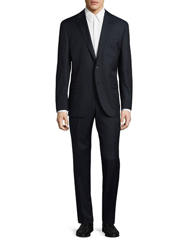 Savile Row Tonal-Grid Super 110s Wool Suit-NAVY-42 Tall