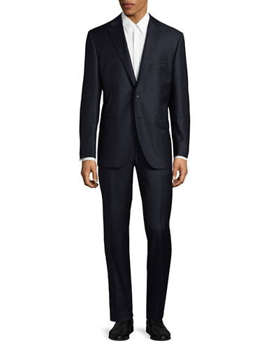 Savile Row Graph Check Super 110s Wool Suit-NAVY-42 Regular